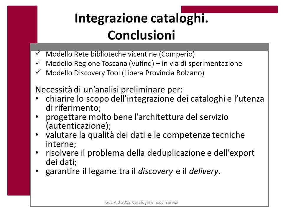 GdL AIB 2012 Cataloghi e nuovi servizi Integrazione cataloghi. Conclusioni Modello Rete biblioteche vicentine (Comperio) Modello Regione Toscana (Vufi