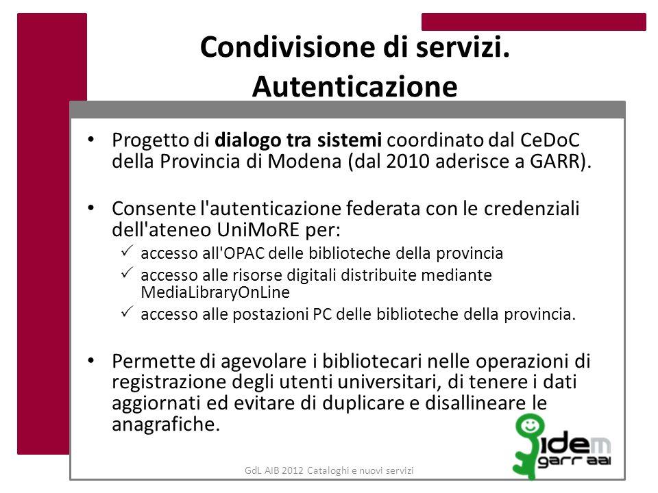 GdL AIB 2012 Cataloghi e nuovi servizi Condivisione di servizi. Autenticazione Progetto di dialogo tra sistemi coordinato dal CeDoC della Provincia di