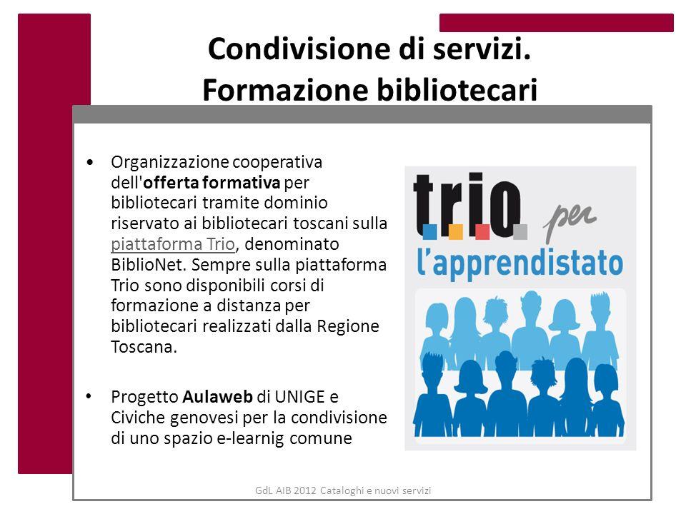 GdL AIB 2012 Cataloghi e nuovi servizi Condivisione di servizi. Formazione bibliotecari Organizzazione cooperativa dell'offerta formativa per bibliote
