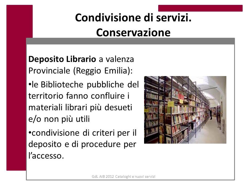 GdL AIB 2012 Cataloghi e nuovi servizi Condivisione di servizi. Conservazione Deposito Librario a valenza Provinciale (Reggio Emilia): le Biblioteche