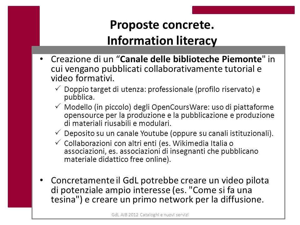 GdL AIB 2012 Cataloghi e nuovi servizi Proposte concrete. Information literacy Creazione di un Canale delle biblioteche Piemonte