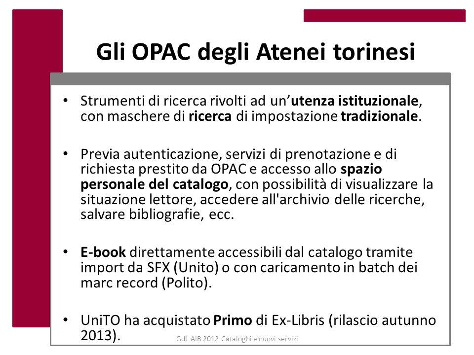 GdL AIB 2012 Cataloghi e nuovi servizi Gli OPAC degli Atenei torinesi Strumenti di ricerca rivolti ad unutenza istituzionale, con maschere di ricerca