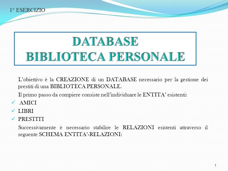Lobiettivo è la CREAZIONE di un DATABASE necessario per la gestione dei prestiti di una BIBLIOTECA PERSONALE.