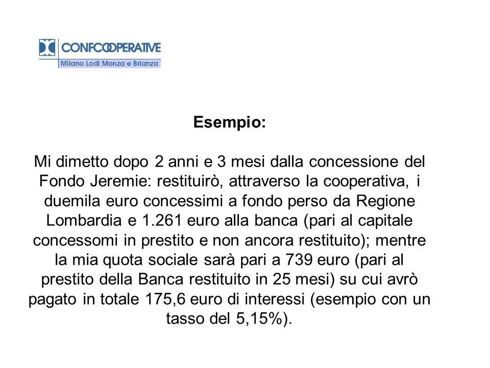 Esempio: Mi dimetto dopo 2 anni e 3 mesi dalla concessione del Fondo Jeremie: restituirò, attraverso la cooperativa, i duemila euro concessimi a fondo