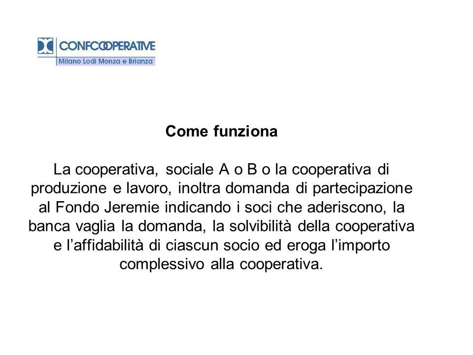 Come funziona La cooperativa, sociale A o B o la cooperativa di produzione e lavoro, inoltra domanda di partecipazione al Fondo Jeremie indicando i so