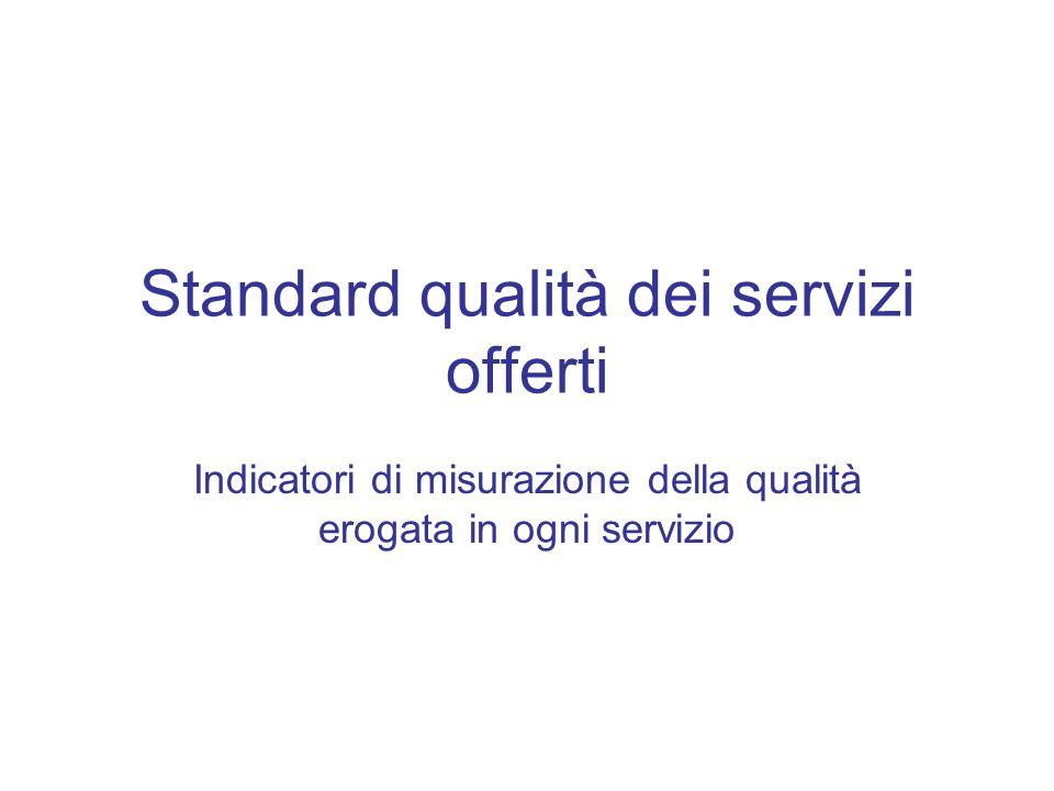 Standard qualità dei servizi offerti Indicatori di misurazione della qualità erogata in ogni servizio