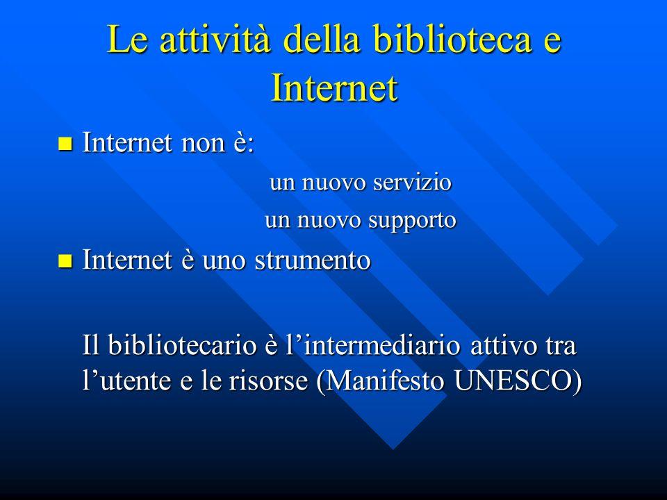 Le attività della biblioteca e Internet Internet non è: Internet non è: un nuovo servizio un nuovo servizio un nuovo supporto un nuovo supporto Intern