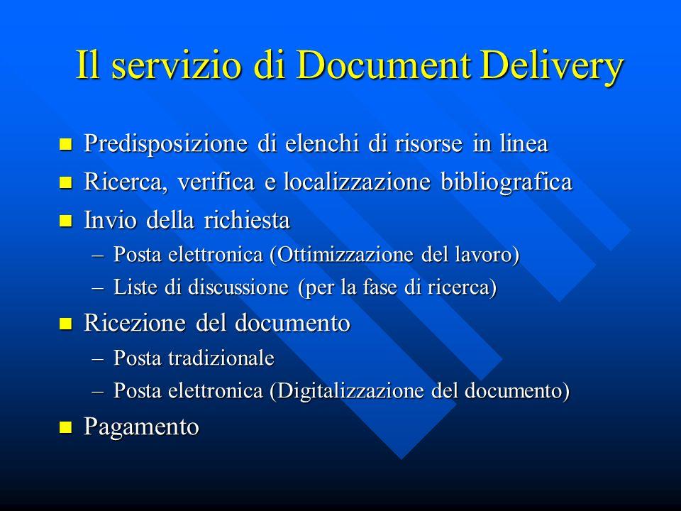Il servizio di Document Delivery Predisposizione di elenchi di risorse in linea Predisposizione di elenchi di risorse in linea Ricerca, verifica e loc