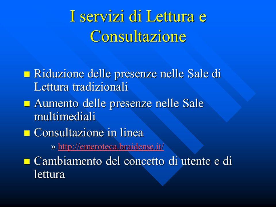 I servizi di Lettura e Consultazione Riduzione delle presenze nelle Sale di Lettura tradizionali Riduzione delle presenze nelle Sale di Lettura tradiz