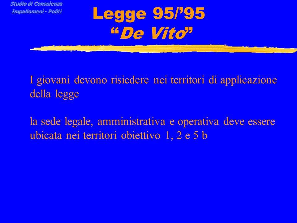 Legge 95/95 De Vito I giovani devono risiedere nei territori di applicazione della legge la sede legale, amministrativa e operativa deve essere ubicata nei territori obiettivo 1, 2 e 5 b Studio di Consulenza Impallomeni - Politi