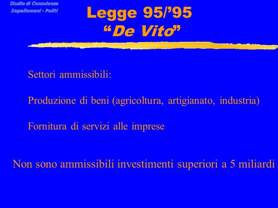 Legge 95/95 De Vito Settori ammissibili: Produzione di beni (agricoltura, artigianato, industria) Fornitura di servizi alle imprese Non sono ammissibili investimenti superiori a 5 miliardi Studio di Consulenza Impallomeni - Politi