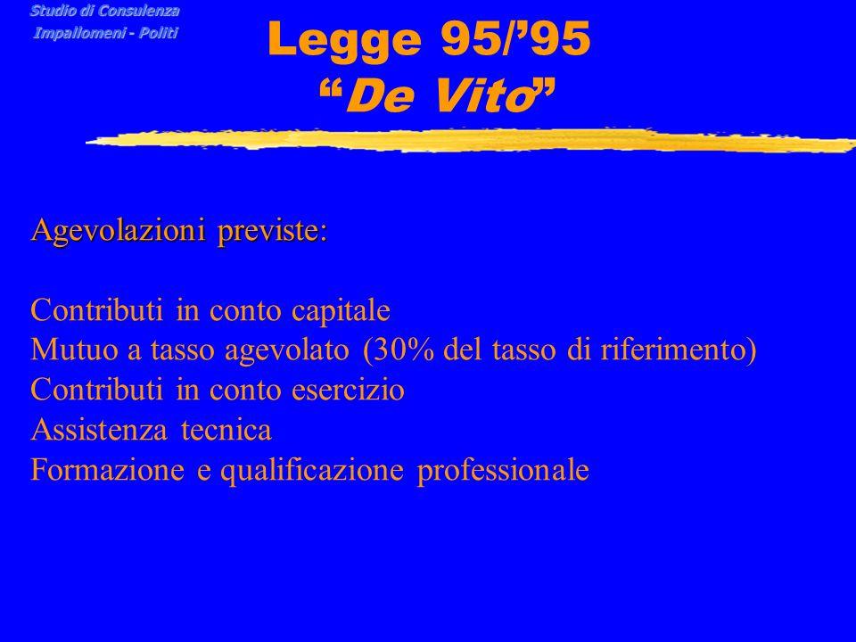 Legge 95/95 De Vito Agevolazioni previste: Contributi in conto capitale Mutuo a tasso agevolato (30% del tasso di riferimento) Contributi in conto esercizio Assistenza tecnica Formazione e qualificazione professionale Studio di Consulenza Impallomeni - Politi