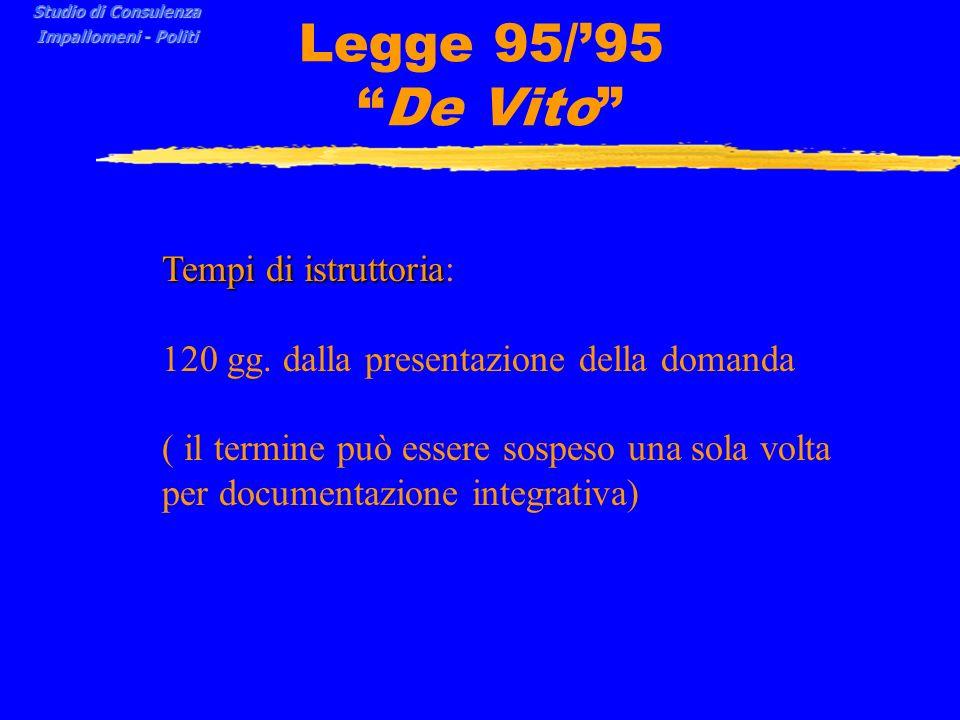 Legge 95/95 De Vito Tempi di istruttoria Tempi di istruttoria: 120 gg.