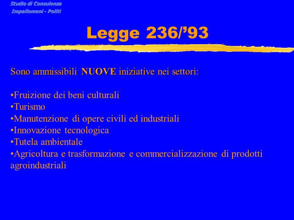 Legge 236/93 Sono ammissibili NUOVE iniziative nei settori: Fruizione dei beni culturali Turismo Manutenzione di opere civili ed industriali Innovazione tecnologica Tutela ambientale Agricoltura e trasformazione e commercializzazione di prodotti agroindustriali Studio di Consulenza Impallomeni - Politi