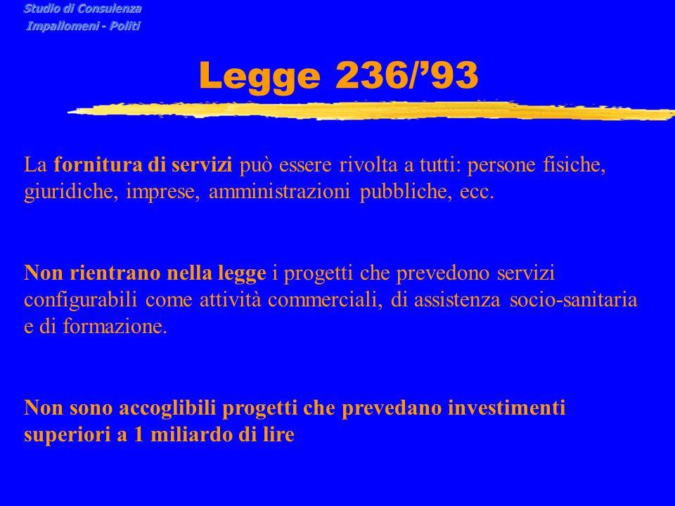 Legge 236/93 La fornitura di servizi può essere rivolta a tutti: persone fisiche, giuridiche, imprese, amministrazioni pubbliche, ecc.