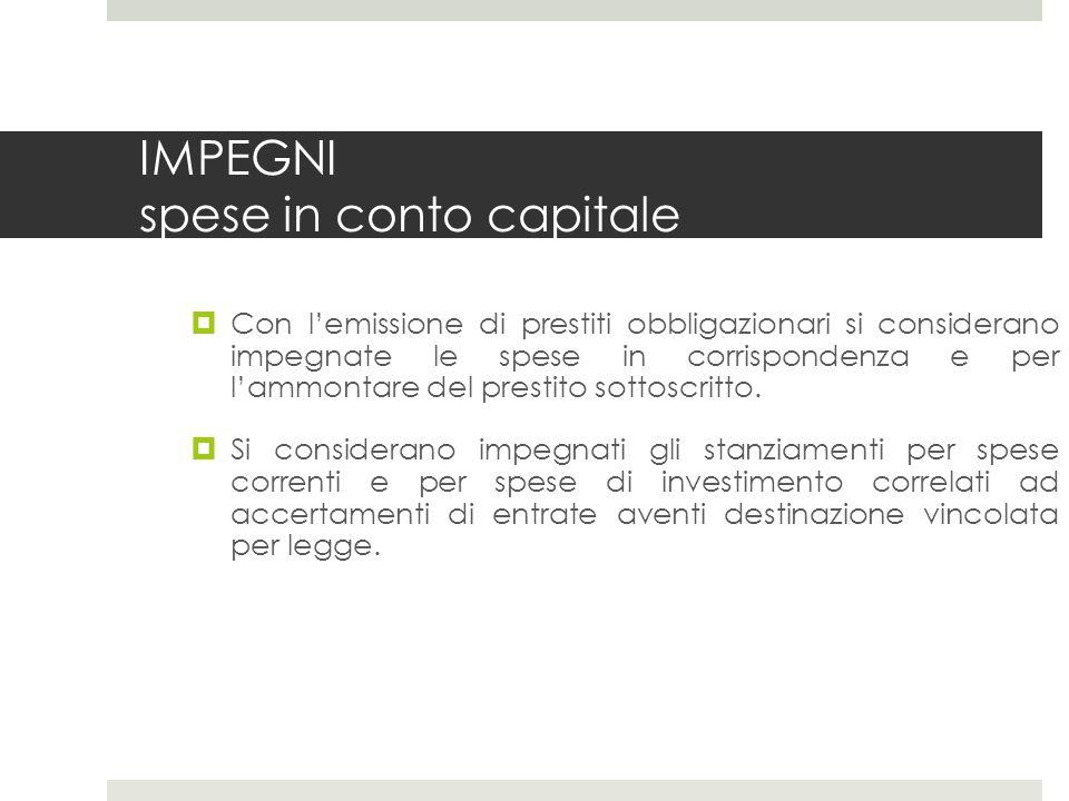 IMPEGNI spese in conto capitale Con lemissione di prestiti obbligazionari si considerano impegnate le spese in corrispondenza e per lammontare del prestito sottoscritto.