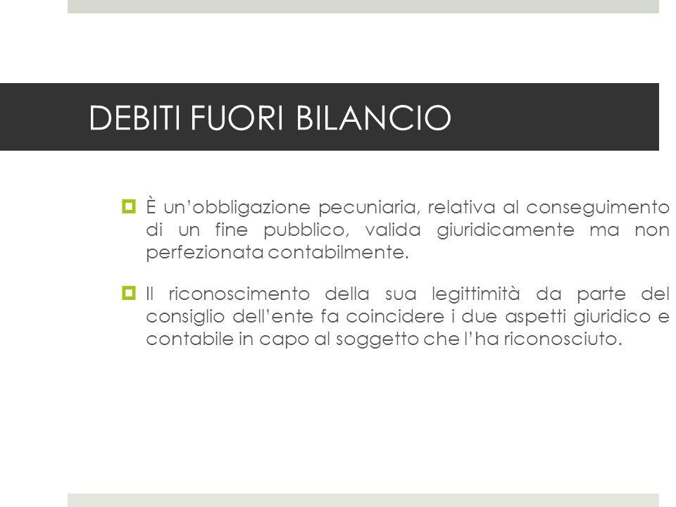DEBITI FUORI BILANCIO È unobbligazione pecuniaria, relativa al conseguimento di un fine pubblico, valida giuridicamente ma non perfezionata contabilmente.