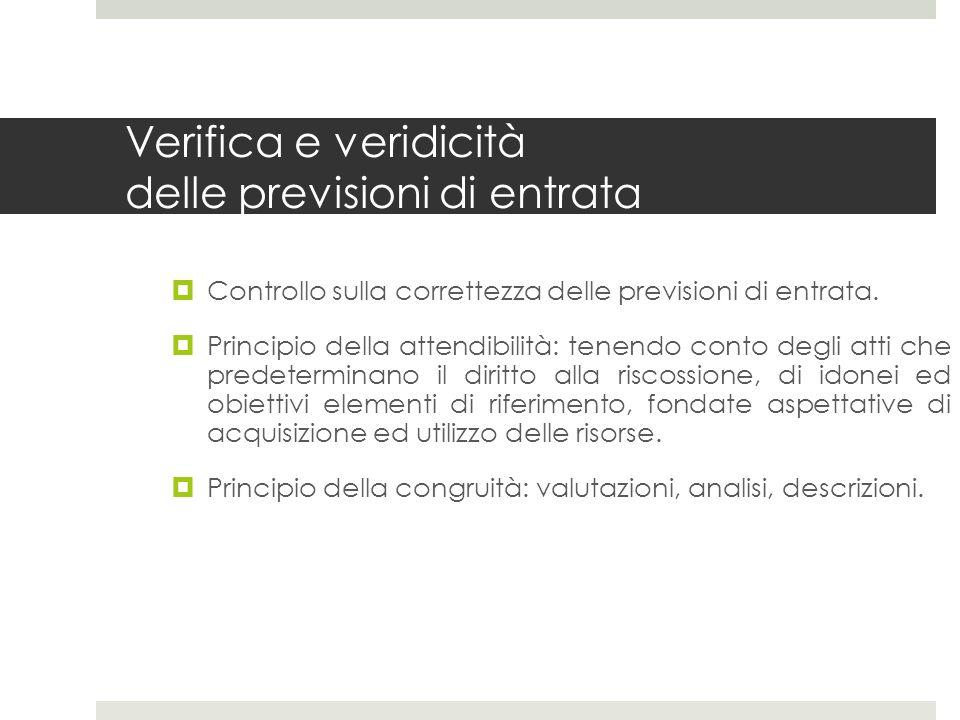 Verifica e veridicità delle previsioni di entrata Controllo sulla correttezza delle previsioni di entrata.