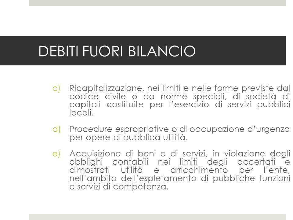 DEBITI FUORI BILANCIO c)Ricapitalizzazione, nei limiti e nelle forme previste dal codice civile o da norme speciali, di società di capitali costituite per lesercizio di servizi pubblici locali.