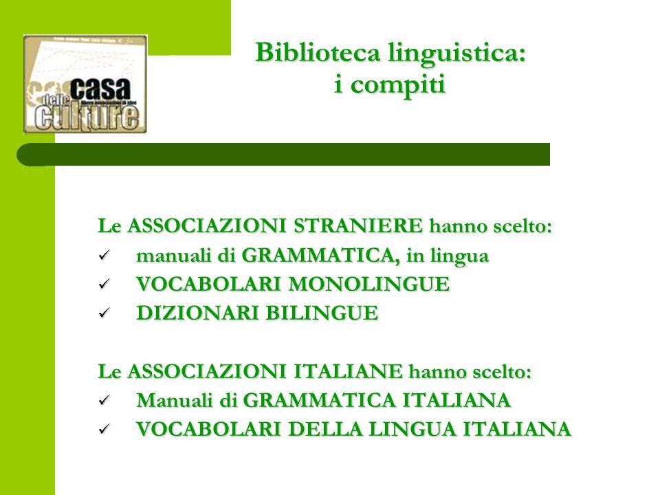 Biblioteca linguistica: i compiti Le ASSOCIAZIONI STRANIERE hanno scelto: manuali di GRAMMATICA, in lingua manuali di GRAMMATICA, in lingua VOCABOLARI MONOLINGUE VOCABOLARI MONOLINGUE DIZIONARI BILINGUE DIZIONARI BILINGUE Le ASSOCIAZIONI ITALIANE hanno scelto: Manuali di GRAMMATICA ITALIANA Manuali di GRAMMATICA ITALIANA VOCABOLARI DELLA LINGUA ITALIANA VOCABOLARI DELLA LINGUA ITALIANA
