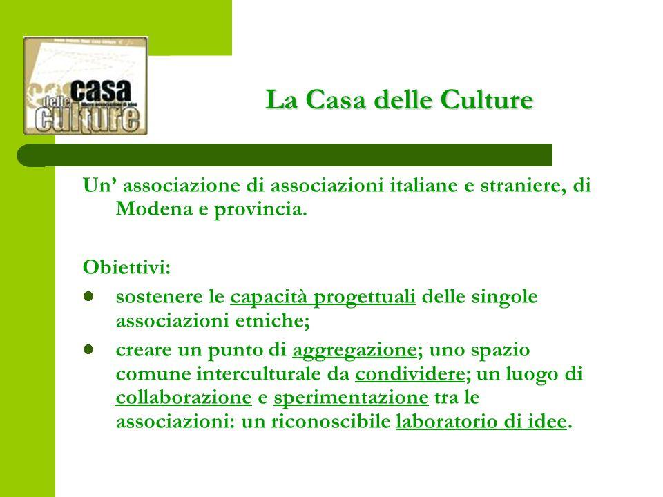 La Casa delle Culture Un associazione di associazioni italiane e straniere, di Modena e provincia.