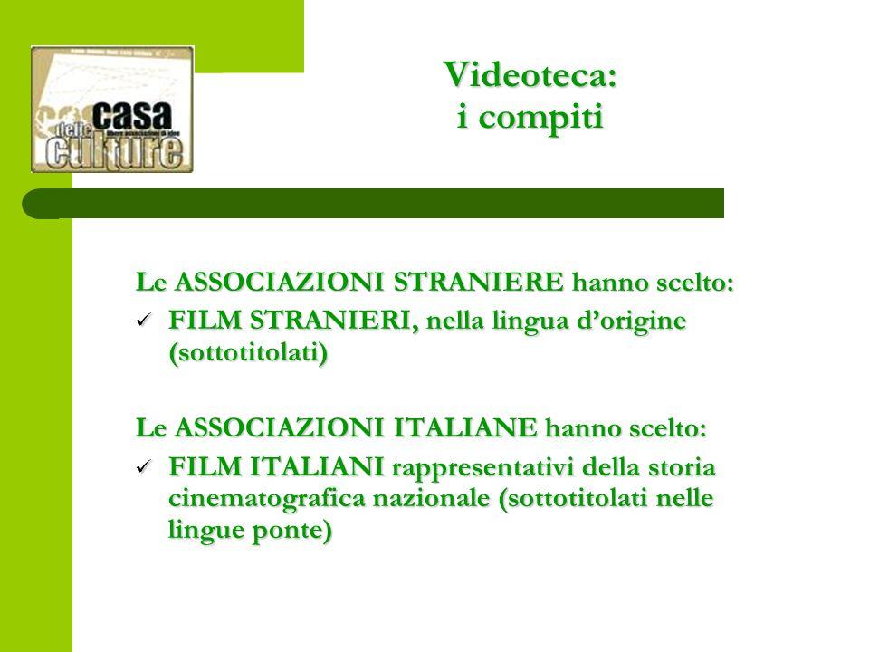 Videoteca: i compiti Le ASSOCIAZIONI STRANIERE hanno scelto: FILM STRANIERI, nella lingua dorigine (sottotitolati) FILM STRANIERI, nella lingua dorigine (sottotitolati) Le ASSOCIAZIONI ITALIANE hanno scelto: FILM ITALIANI rappresentativi della storia cinematografica nazionale (sottotitolati nelle lingue ponte) FILM ITALIANI rappresentativi della storia cinematografica nazionale (sottotitolati nelle lingue ponte)
