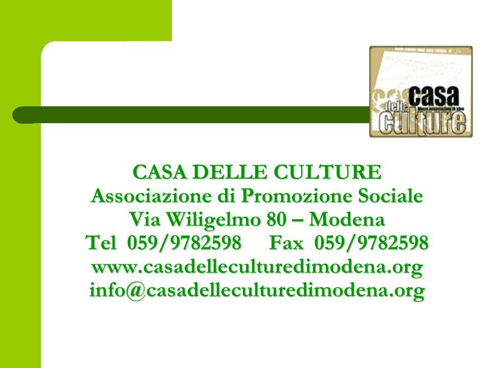 CASA DELLE CULTURE Associazione di Promozione Sociale Via Wiligelmo 80 – Modena Tel 059/9782598 Fax 059/9782598 www.casadelleculturedimodena.org info@casadelleculturedimodena.org