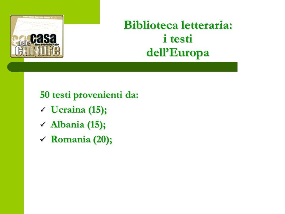 Biblioteca letteraria: i testi dellEuropa 50 testi provenienti da: Ucraina (15); Ucraina (15); Albania (15); Albania (15); Romania (20); Romania (20);
