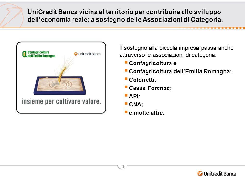 19 UniCredit Banca vicina al territorio per contribuire allo sviluppo delleconomia reale: a sostegno delle Associazioni di Categoria. Il sostegno alla