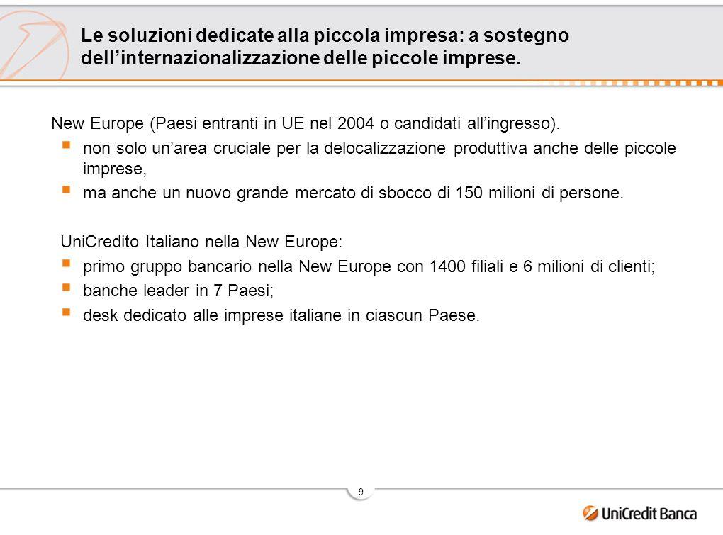 9 Le soluzioni dedicate alla piccola impresa: a sostegno dellinternazionalizzazione delle piccole imprese. New Europe (Paesi entranti in UE nel 2004 o