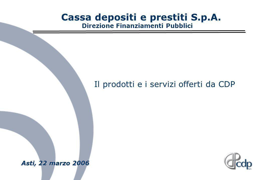 Asti, 22 marzo 2006 Asti, 22 marzo 2006 Cassa depositi e prestiti S.p.A. Direzione Finanziamenti Pubblici Il prodotti e i servizi offerti da CDP