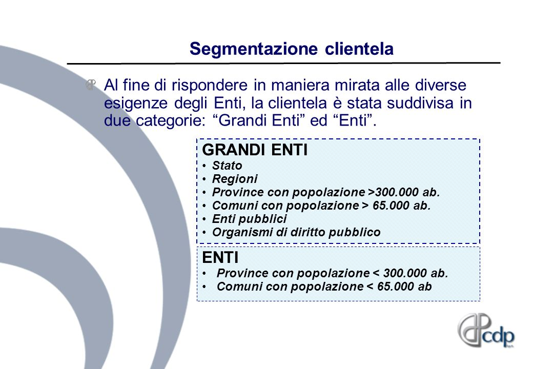 Segmentazione clientela Al fine di rispondere in maniera mirata alle diverse esigenze degli Enti, la clientela è stata suddivisa in due categorie: Gra