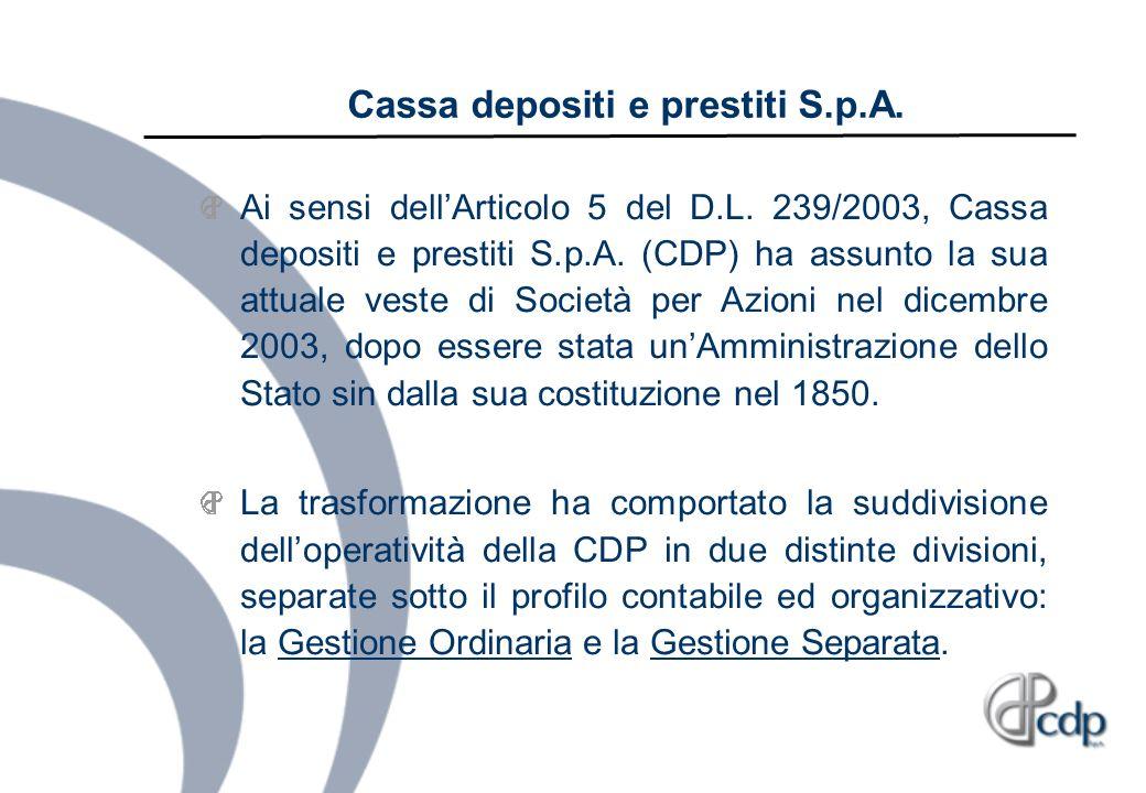 Cassa depositi e prestiti S.p.A. Ai sensi dellArticolo 5 del D.L. 239/2003, Cassa depositi e prestiti S.p.A. (CDP) ha assunto la sua attuale veste di