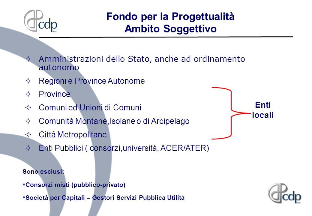 Fondo per la Progettualità Ambito Soggettivo Amministrazioni dello Stato, anche ad ordinamento autonomo Regioni e Province Autonome Province Comuni ed