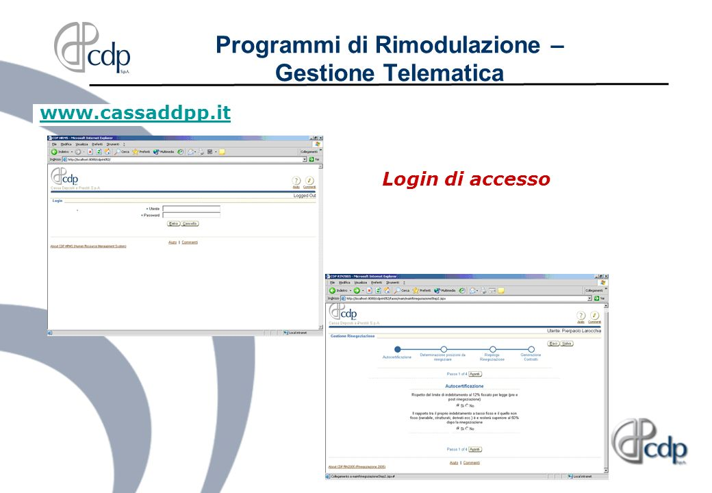 www.cassaddpp.it Login di accesso Programmi di Rimodulazione – Gestione Telematica