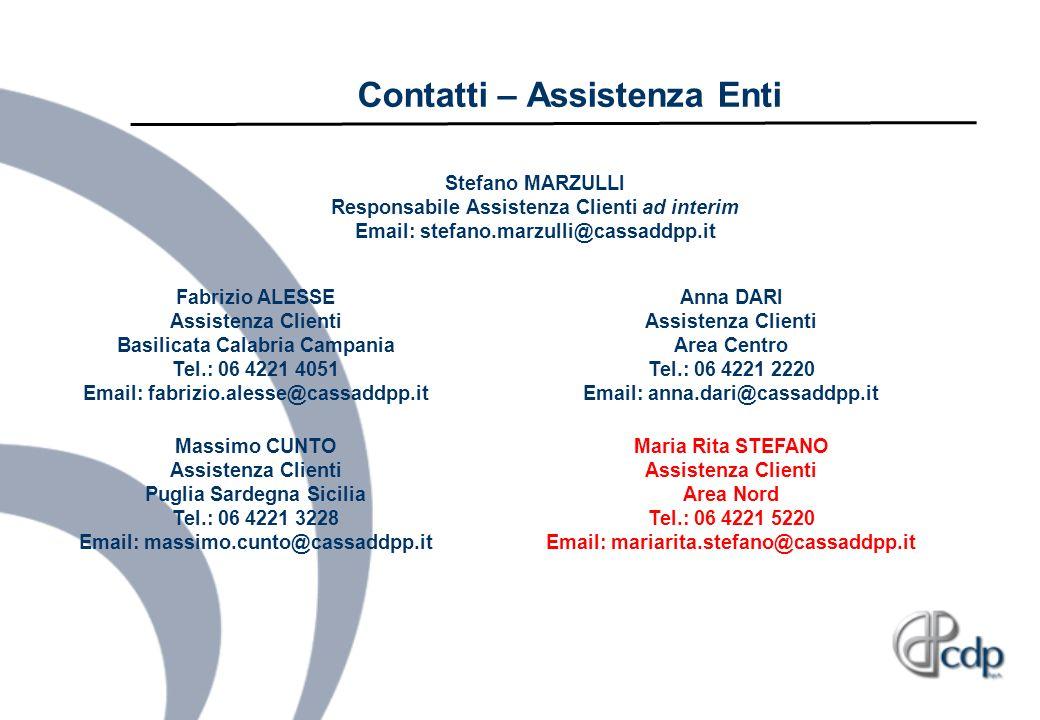 Contatti – Assistenza Enti Fabrizio ALESSE Assistenza Clienti Basilicata Calabria Campania Tel.: 06 4221 4051 Email: fabrizio.alesse@cassaddpp.it Mass