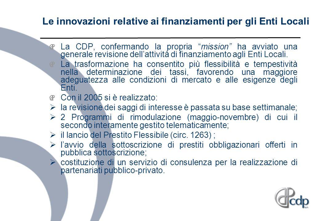 Le innovazioni relative ai finanziamenti per gli Enti Locali La CDP, confermando la propria mission ha avviato una generale revisione dellattività di