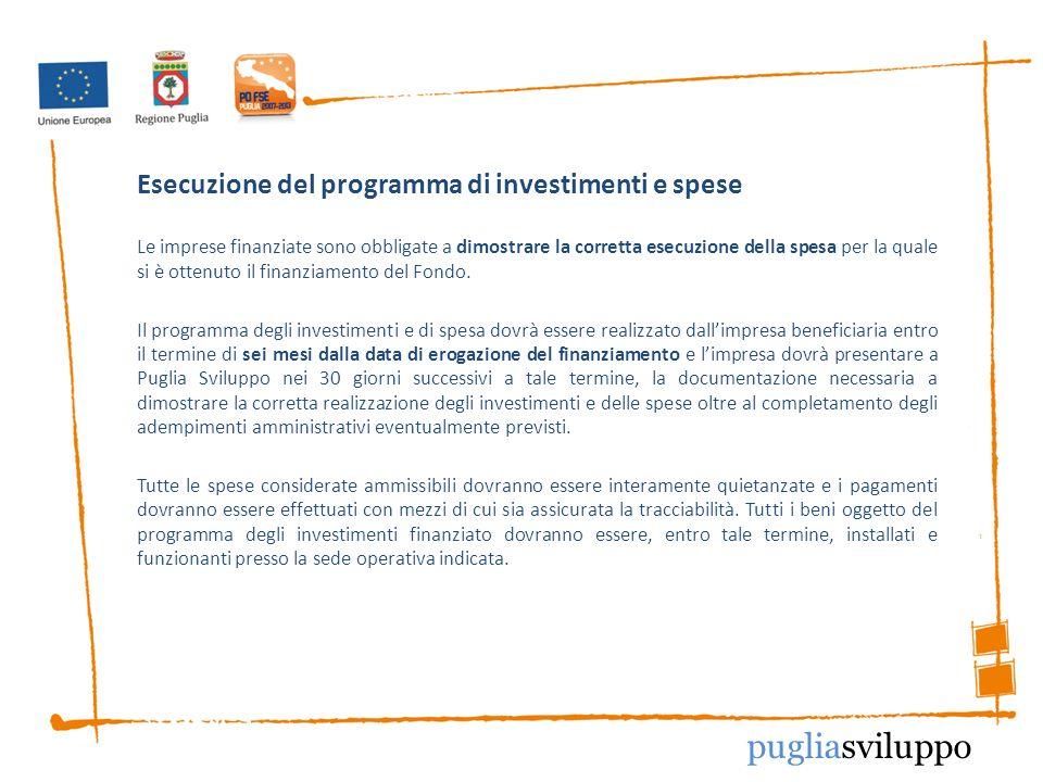 Esecuzione del programma di investimenti e spese Le imprese finanziate sono obbligate a dimostrare la corretta esecuzione della spesa per la quale si è ottenuto il finanziamento del Fondo.