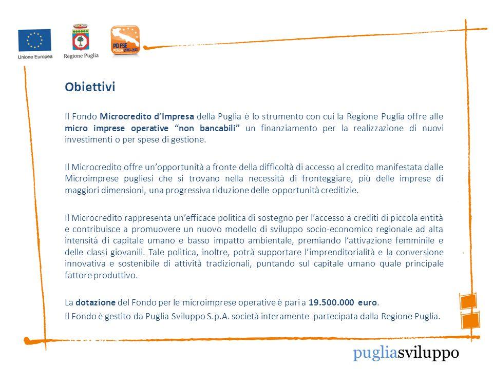 Obiettivi Il Fondo Microcredito dImpresa della Puglia è lo strumento con cui la Regione Puglia offre alle micro imprese operative non bancabili un finanziamento per la realizzazione di nuovi investimenti o per spese di gestione.