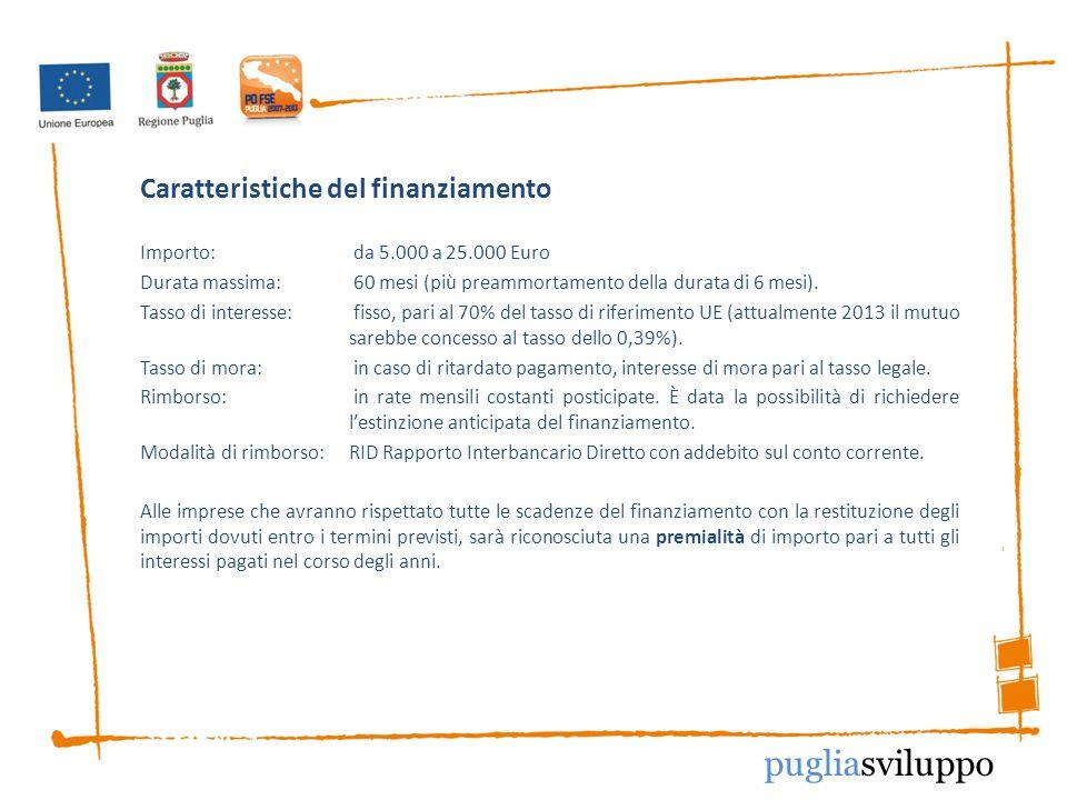 Caratteristiche del finanziamento Importo: da 5.000 a 25.000 Euro Durata massima:60 mesi (più preammortamento della durata di 6 mesi).