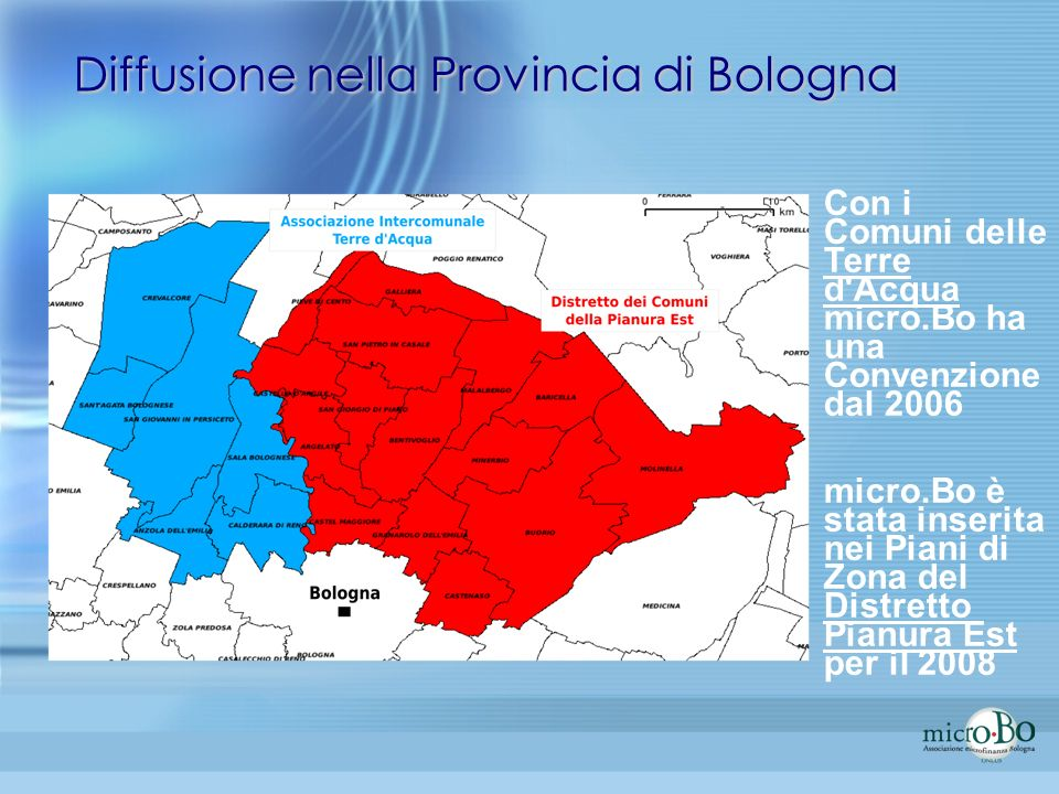 Diffusione nella Provincia di Bologna Con i Comuni delle Terre d'Acqua micro.Bo ha una Convenzione dal 2006 micro.Bo è stata inserita nei Piani di Zon
