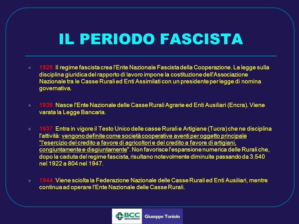 LUG 2010 IL PERIODO FASCISTA 1926 Il regime fascista crea l Ente Nazionale Fascista della Cooperazione.