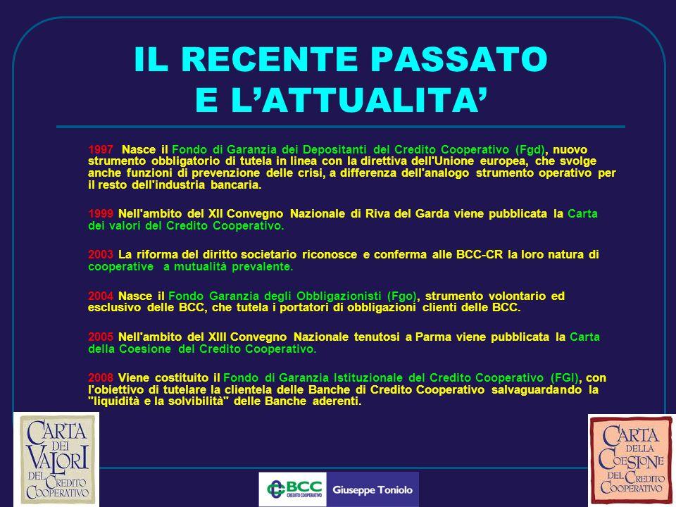 LUG 2010 IL RECENTE PASSATO E LATTUALITA 1997 Nasce il Fondo di Garanzia dei Depositanti del Credito Cooperativo (Fgd), nuovo strumento obbligatorio di tutela in linea con la direttiva dell Unione europea, che svolge anche funzioni di prevenzione delle crisi, a differenza dell analogo strumento operativo per il resto dell industria bancaria.