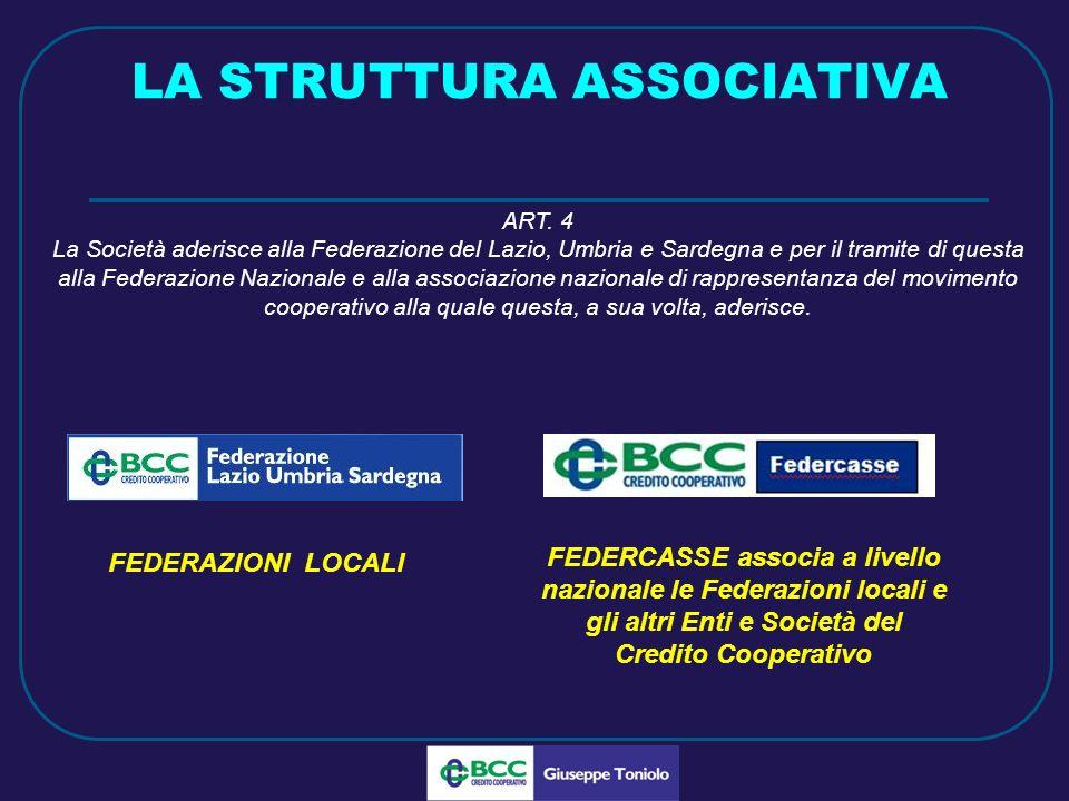 LUG 2010 LA STRUTTURA ASSOCIATIVA FEDERAZIONI LOCALI FEDERCASSE associa a livello nazionale le Federazioni locali e gli altri Enti e Società del Credito Cooperativo ART.