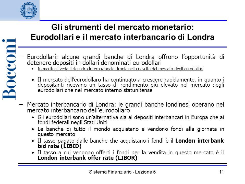 Sistema Finanziario - Lezione 511 Gli strumenti del mercato monetario: Eurodollari e il mercato interbancario di Londra –Eurodollari: alcune grandi ba