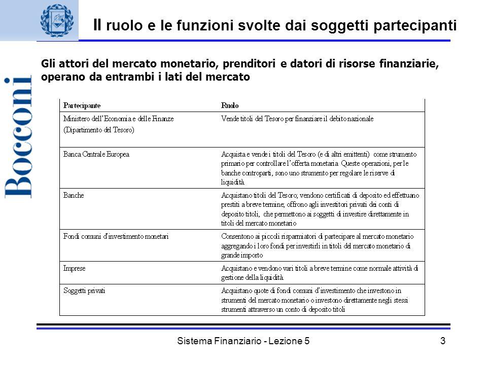 Sistema Finanziario - Lezione 53 Il ruolo e le funzioni svolte dai soggetti partecipanti Gli attori del mercato monetario, prenditori e datori di riso
