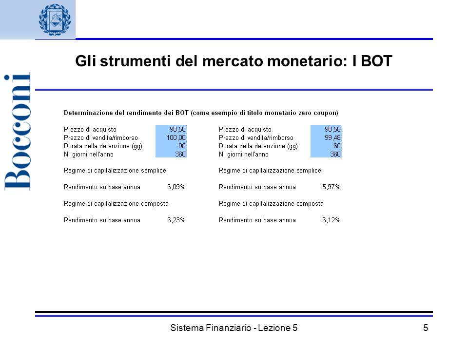 Sistema Finanziario - Lezione 55 Gli strumenti del mercato monetario: I BOT