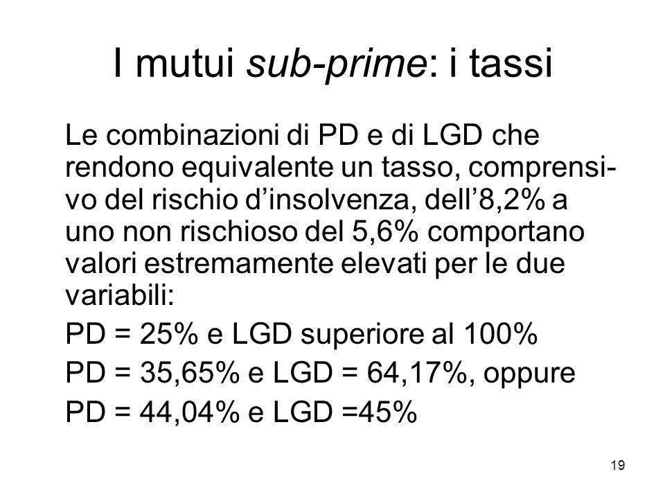 19 I mutui sub-prime: i tassi Le combinazioni di PD e di LGD che rendono equivalente un tasso, comprensi- vo del rischio dinsolvenza, dell8,2% a uno non rischioso del 5,6% comportano valori estremamente elevati per le due variabili: PD = 25% e LGD superiore al 100% PD = 35,65% e LGD = 64,17%, oppure PD = 44,04% e LGD =45%