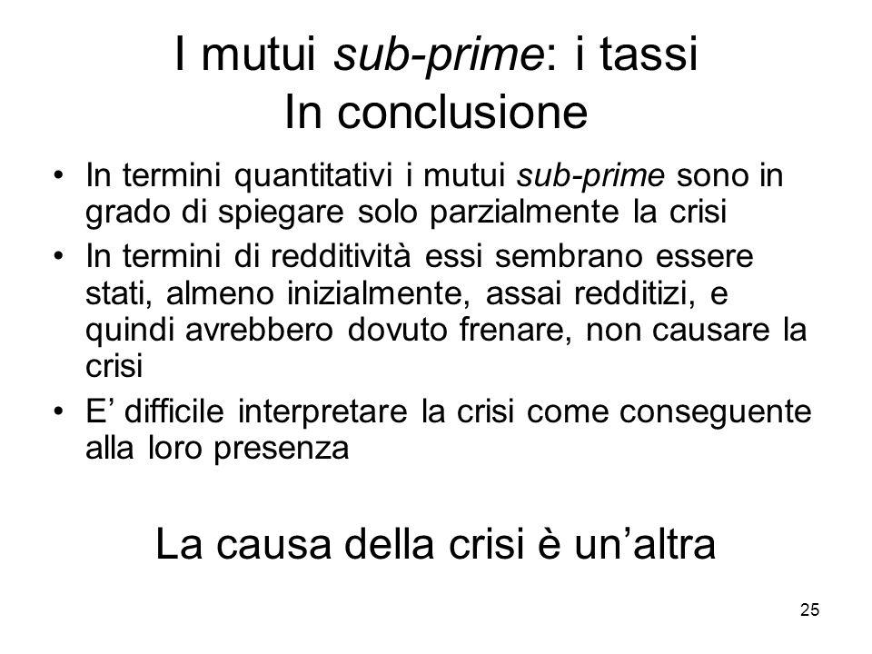 25 I mutui sub-prime: i tassi In conclusione In termini quantitativi i mutui sub-prime sono in grado di spiegare solo parzialmente la crisi In termini