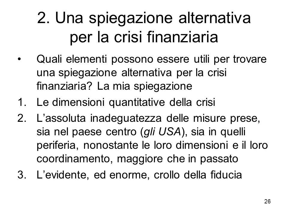 26 2. Una spiegazione alternativa per la crisi finanziaria Quali elementi possono essere utili per trovare una spiegazione alternativa per la crisi fi